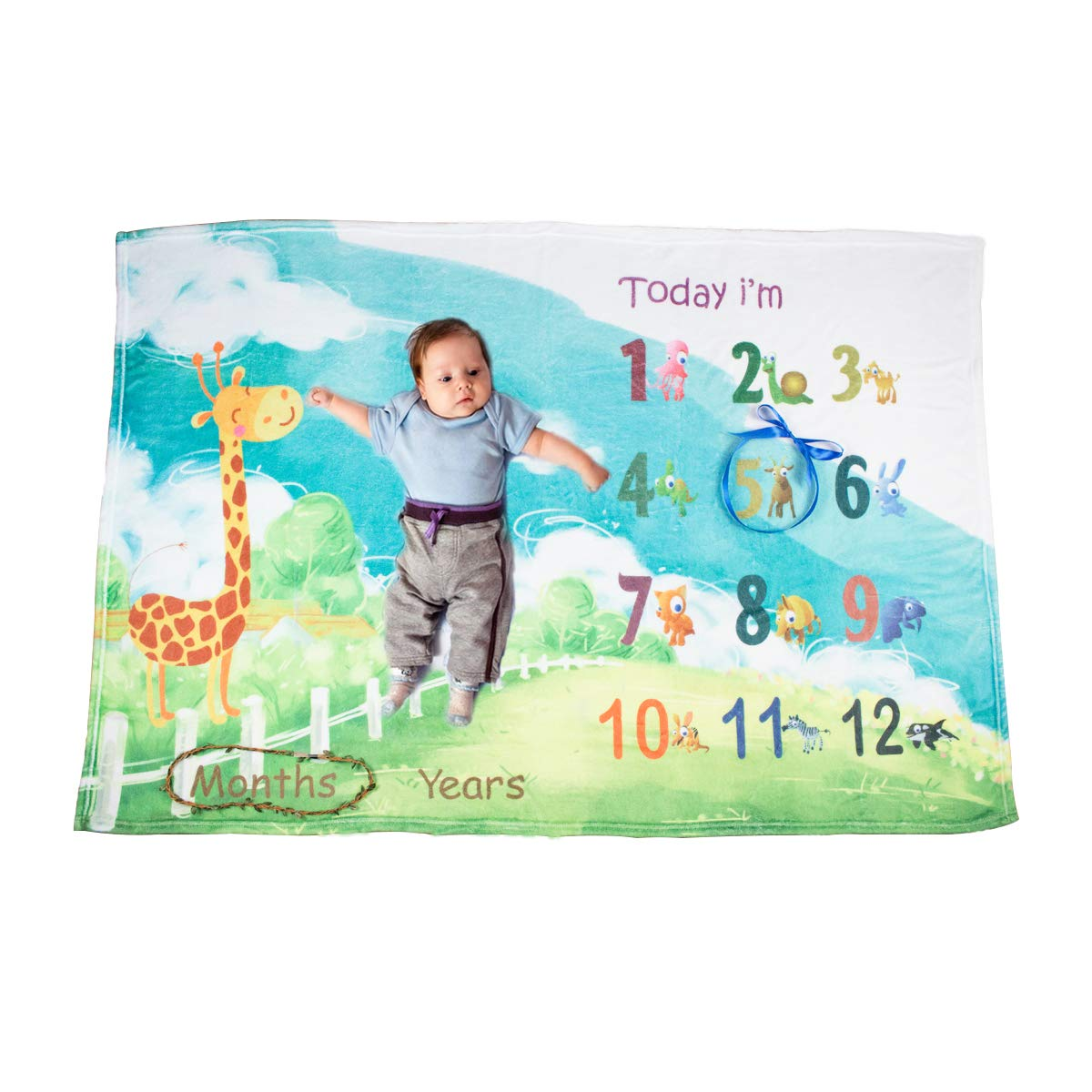 Ghome Baby Monthly Milestone Blanket Boy&Girl Props Shoots Backdrop with Animal World 40''X60'' (Animal)