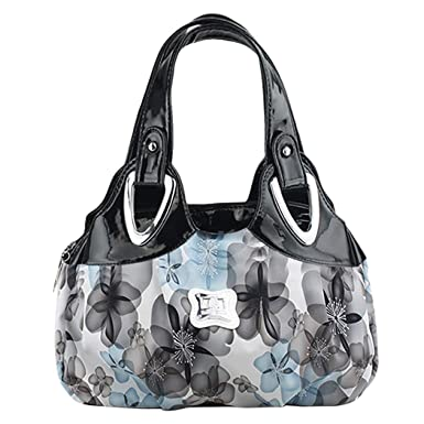 Fanspack Womens Handbags Flower Printed PU Leather Shoulder Bags Top-Handle Hobo  Tote Bag Purse 13772ee1bd9e9