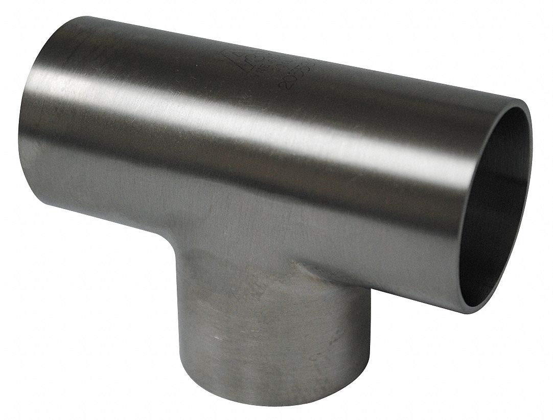 T304 Stainless Steel Equal Tee, Butt Weld Connection Type, 3'' Tube Size