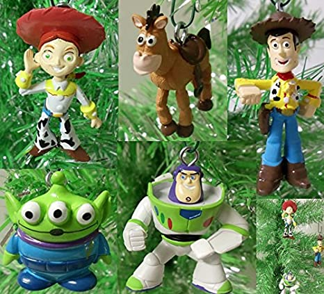 toy story 5 piece holiday christmas tree ornament set featuring woody jessie buzz lightyear