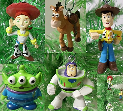 Toy Story 5 Piece Holiday Christmas Tree Ornament Set Featuring Woody, Jessie, Buzz Lightyear, Bullseye, and Alien 2″ to 4″ Ornaments