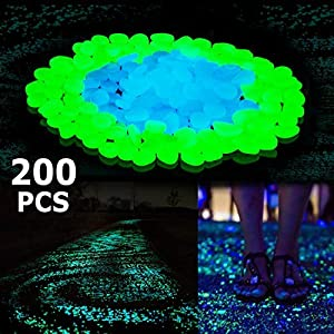 Boomile 200Pack Glow in the Dark Garden Pebbles for Walkways/ Outdoor Decor/ Aquarium/ Fish Tank, Outdoor Garden Decorative Stones in Blue & Green ATSC-520