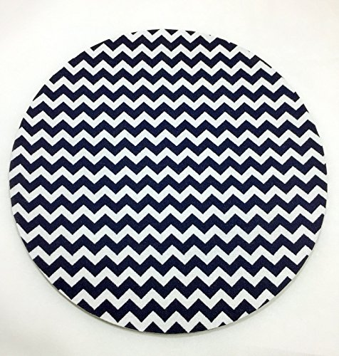 Navy Chevron Mouse Pad / Fabric Covered / Office Supplies / Home Office /  Decor /
