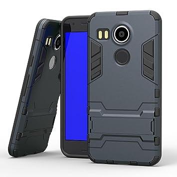 COOVY® Funda para LG Nexus 5X de plástico y Silicona TPU, extrafuerte, con protección contra Golpes, Funda con función Atril | Color Azul Marino