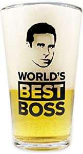 World's Best Boss Beer Glass - The Office Merchandise - Funny Memorabilia Inspired by The Office – Holds 16 Ounces