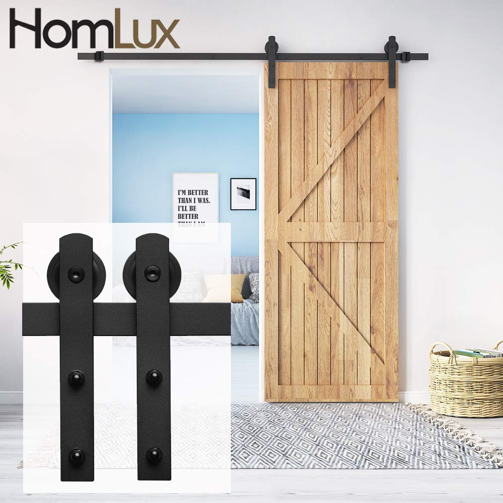 HomLux 6ft Heavy Duty Sturdy Sliding Barn Door Hardware Kit Single Rail - Smoothly and Quietly - Simple and Easy to Install - Fit 1 3/8-1 3/4'' Thickness Door Panel(I Shape Hangers)...