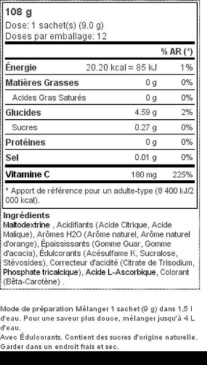 Prozis H2O Infusion 12x9g - Sobre de Bebida de Zumo de Naranja para la Hidratación Corporal - Repleto de Vitamina C - Deliciosa, Saludable y Segura ...