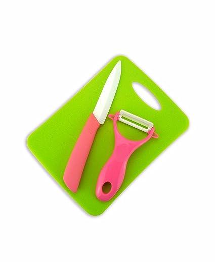 """3ps Cuchillo Rosa de 4"""" de Ceramica con Pelador y Tabla de Picar (TJC"""