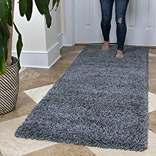 """Ottomanson Soft Cozy Color Solid Shag Runner Rug Contemporary Hallway and Kitchen Shag Runner Rug, Grey, 2'7""""L X 8'0""""W"""