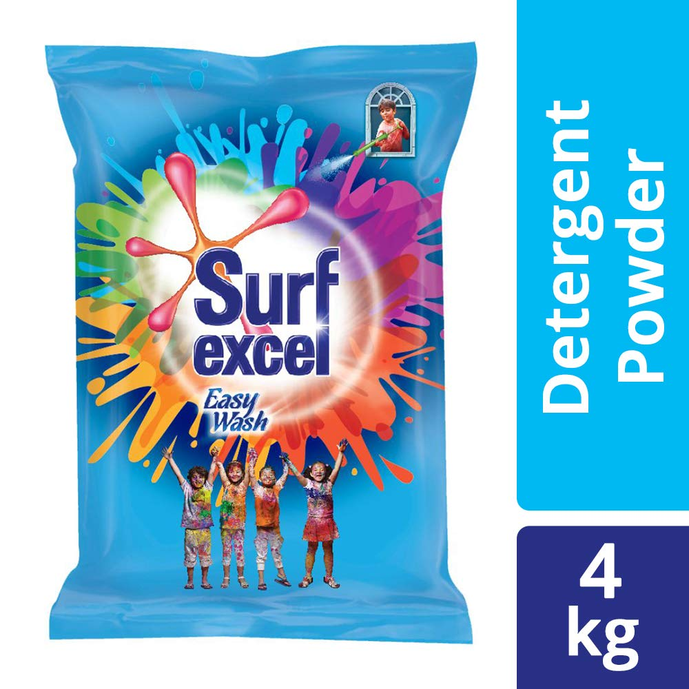 Surf Excel Easy Wash Detergent Powder, Superfine Powder That Dissolves Easily And Removes Tough Stains, 4 Kg