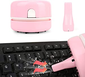 Portable Desktop Vacuum Cleaner with Clean Brush Vacuum Nozzle Bettery Opreated, Mini Table Dust Sweeper Cleaner for Cleaning Dust Hair Crumbs Eraser Scrap Cigarette Ash Keyboard Laptop Piano Pink