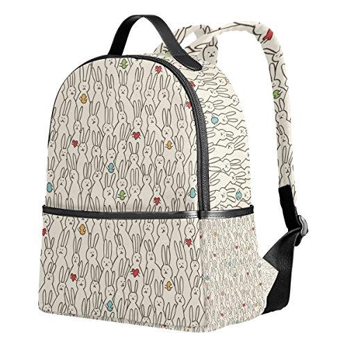 - School Backpack for Teen Boys Girls Funny Bunny Heart Waterproof Students Bookbags