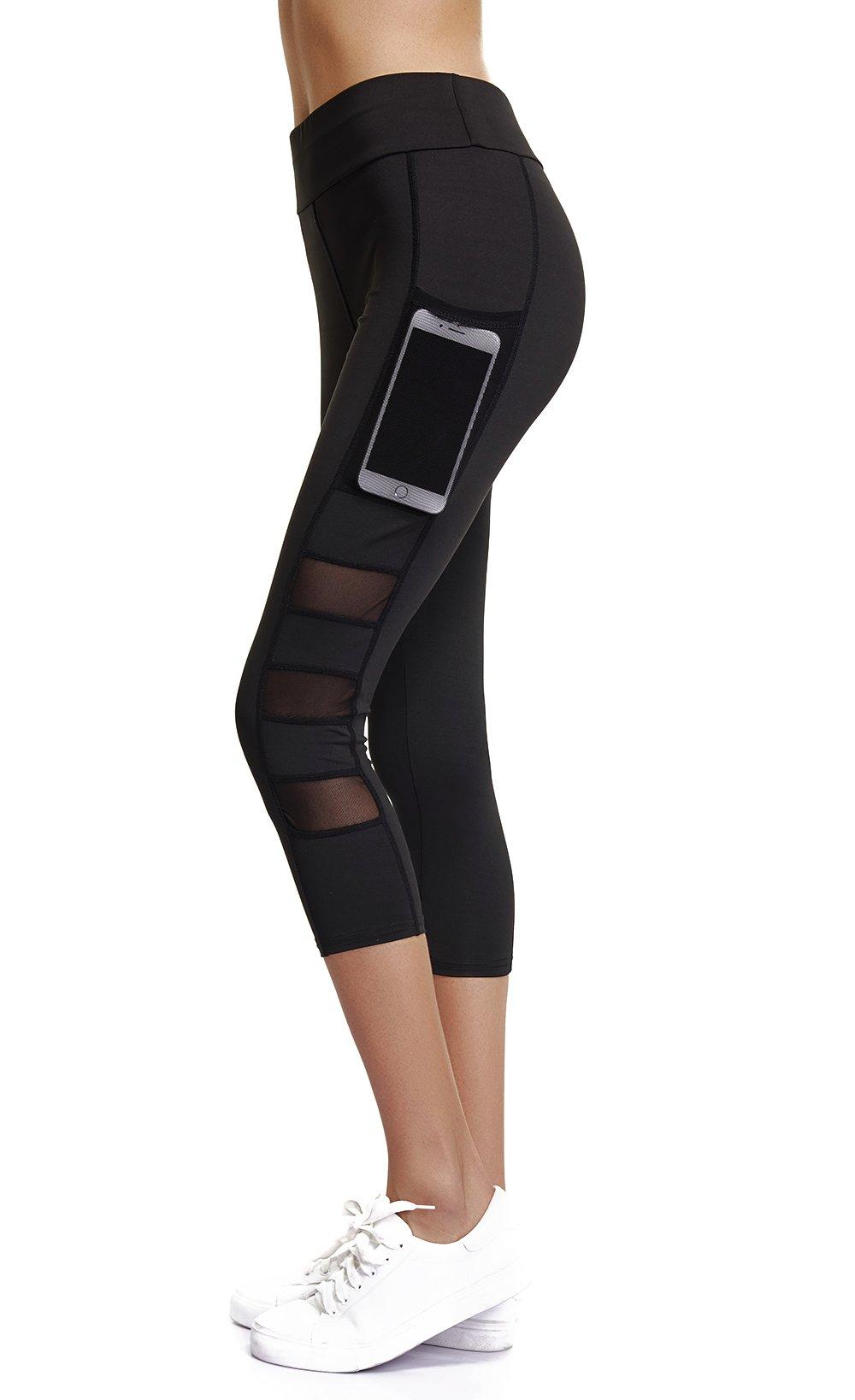 Joyshaper Capri Leggings for Women High Waisted Workout Compression Black Yoga Pants Girls Cropped Tights(Black Capris, L)