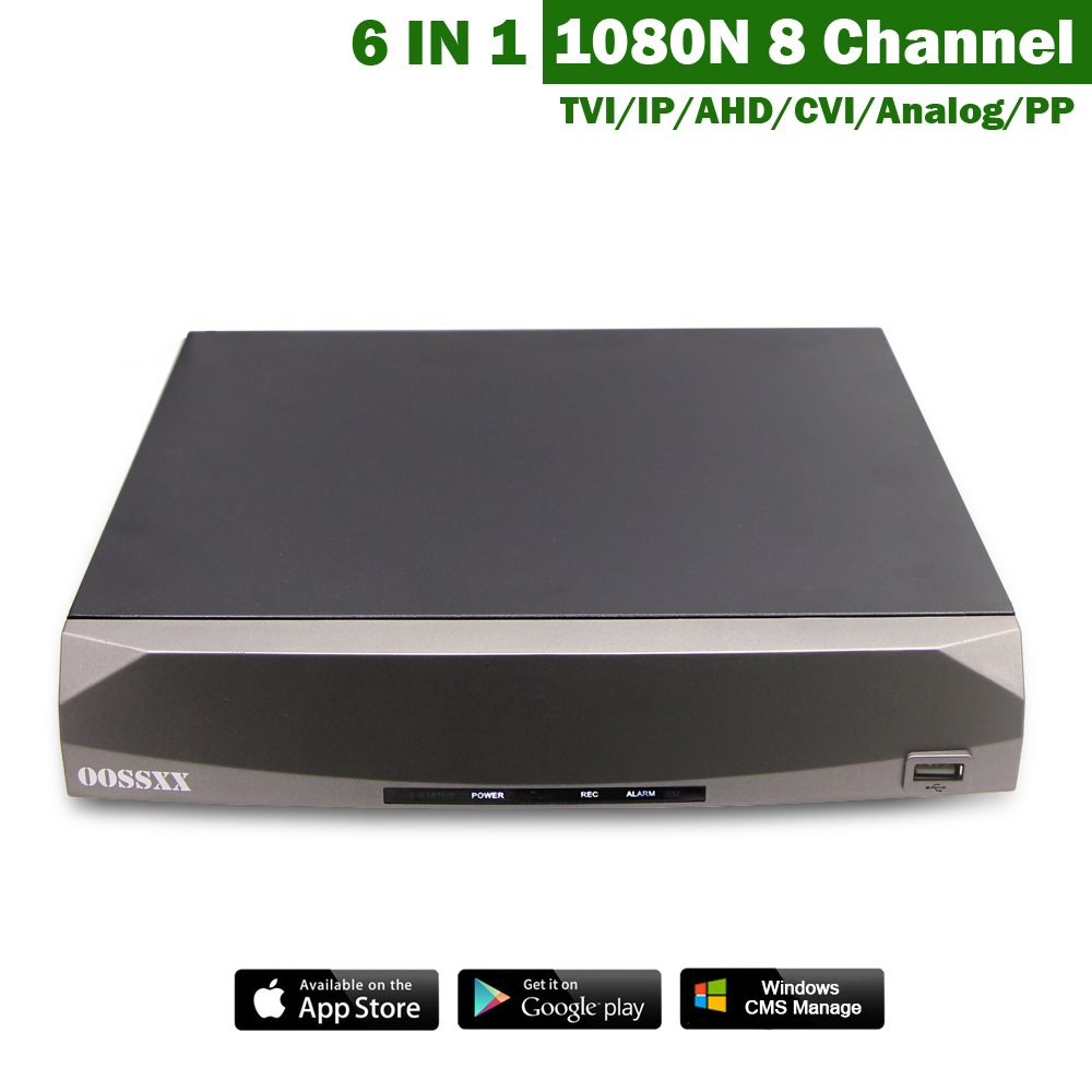 OOSSXX 1080N 8 Channel 5-in-1 DVR Digital Video Record TVI/IP/AHD/CVI/Analog/PP Mix Input With 4 Channel Audio and HDMI/VGA/CVBS/RS485 No HDD