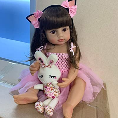 Lullaby Reborn Baby Dolls Silicone Full Body Girl Doll 22 Inch 55 cm Anatomically Correct Newborn Baby Toys with Bunny Toys: Toys & Games [5Bkhe0801544]