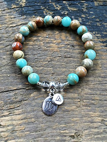Womens Virgo Zodiac Bracelet with Moon Sign and Earth Element Charms for Inner Peace