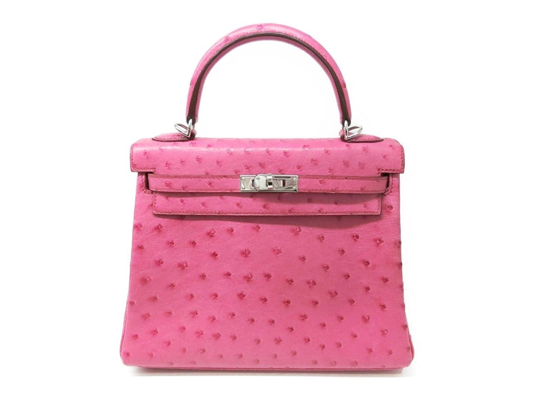[エルメス] HERMES ケリー25ハンドバッグ ピンク×シルバー金具 オーストリッチ [中古] B07DBPSCDR