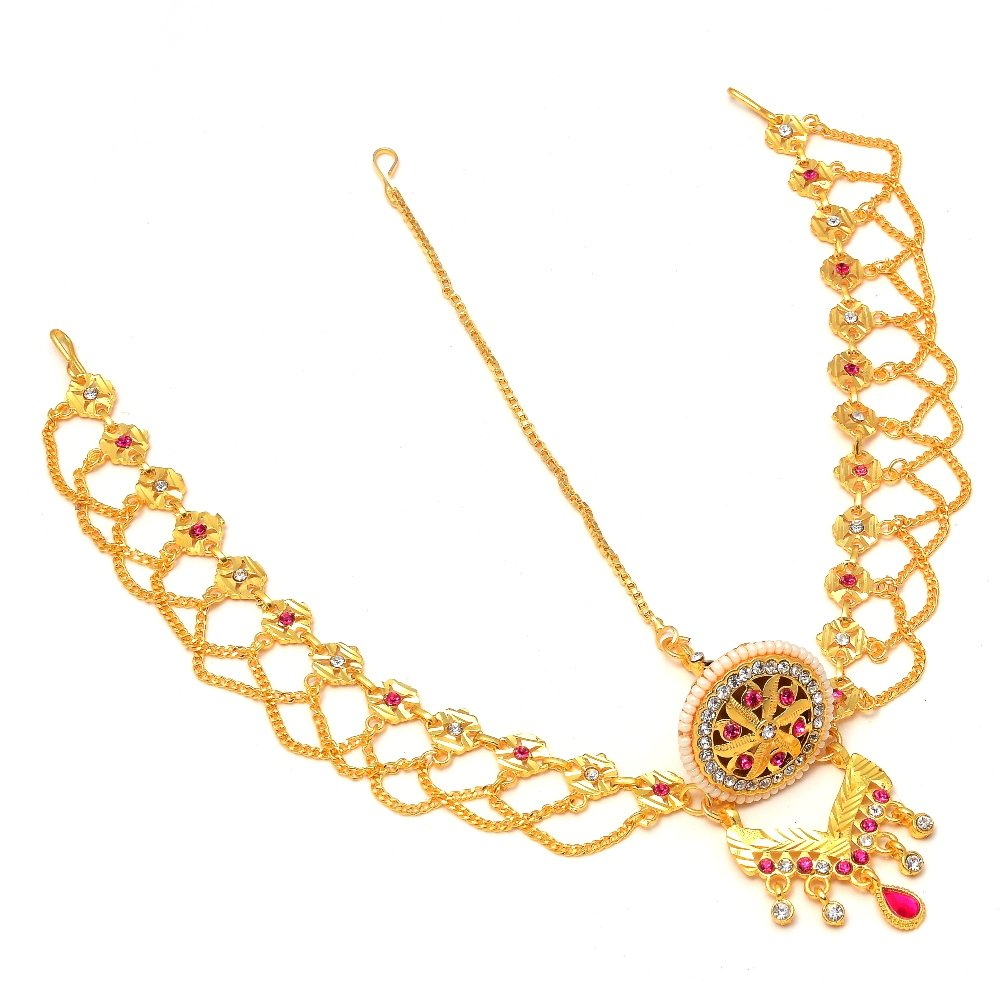 Jewar Multi-Color One Gram Gold Plated Tika Borla Kundan Ad Cz Multi-Gemstones Pearl Polki Jewelry 7741 For Womens Girls