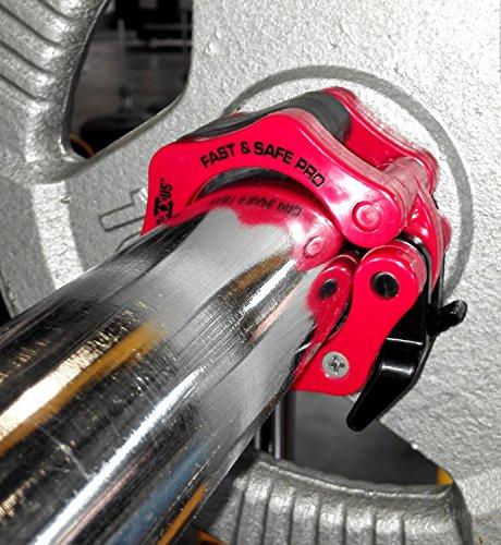FAST & SAFE PRO (rot) 50mm (2 Stück) professioneller Olympia Schnellverschluss für Hantelstangen und Hantelscheibenaufnahmen