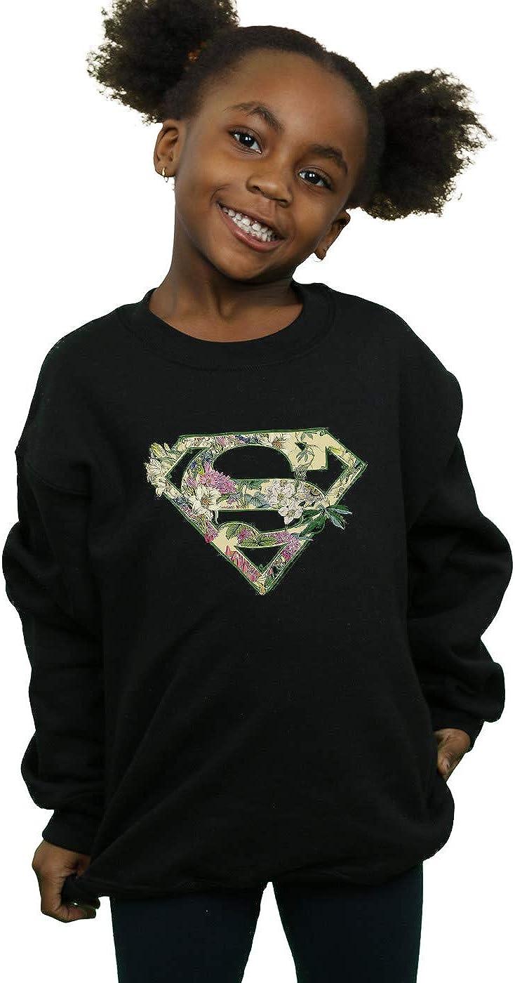 DC Comics M/ädchen Supergirl Floral Shield Sweatshirt