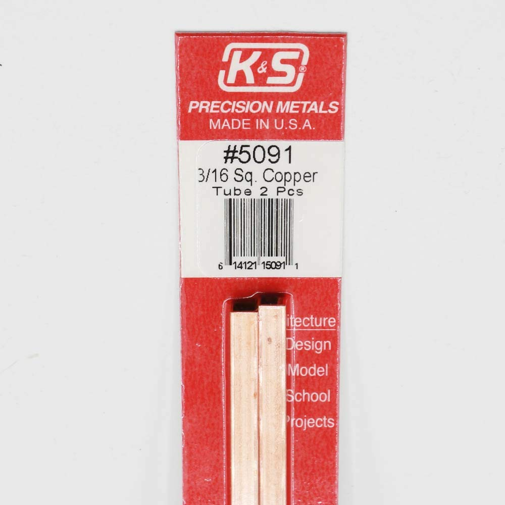 Made in The USA 2 Pieces per Pack K/&S Precision Metals 5091 Square Copper Tube Music Wire 3//16 X 12 Long