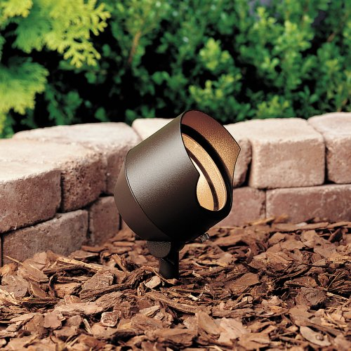 Textured Architectural Bronze Transformer - Kichler 15381AZT6 12-Volt Low Voltage Accent Light with Heat Resistant Flat Glass, Textured Architectural Bronze, 6-Pack