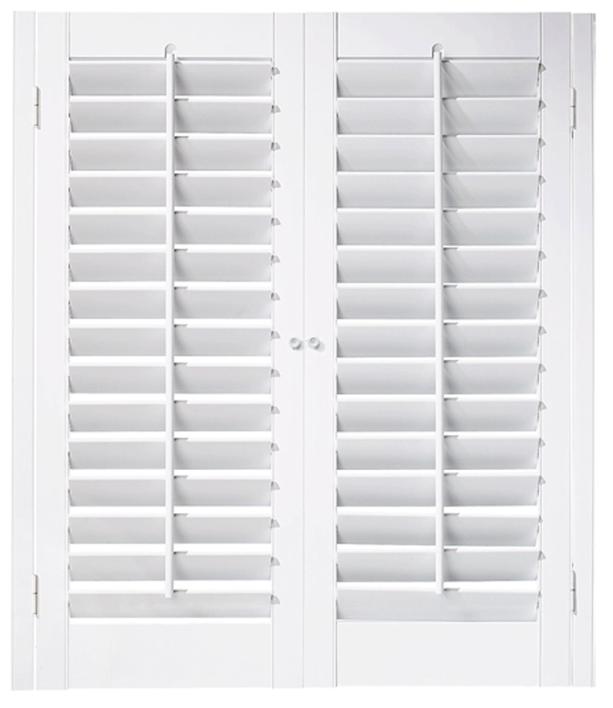 Interior Shutter Kit 2 1/4'' Louver, Plantation Style (Paint Finish White, 23-25'' W x 24'' L)