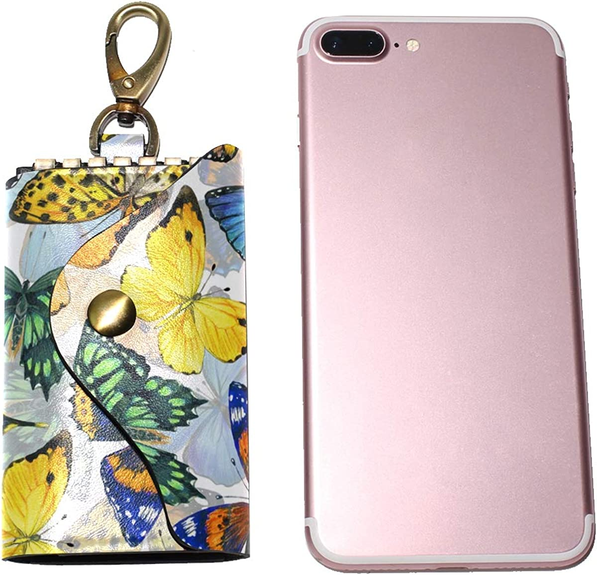 KEAKIA Colorful Butterfly Pattern Leather Key Case Wallets Tri-fold Key Holder Keychains with 6 Hooks 2 Slot Snap Closure for Men Women
