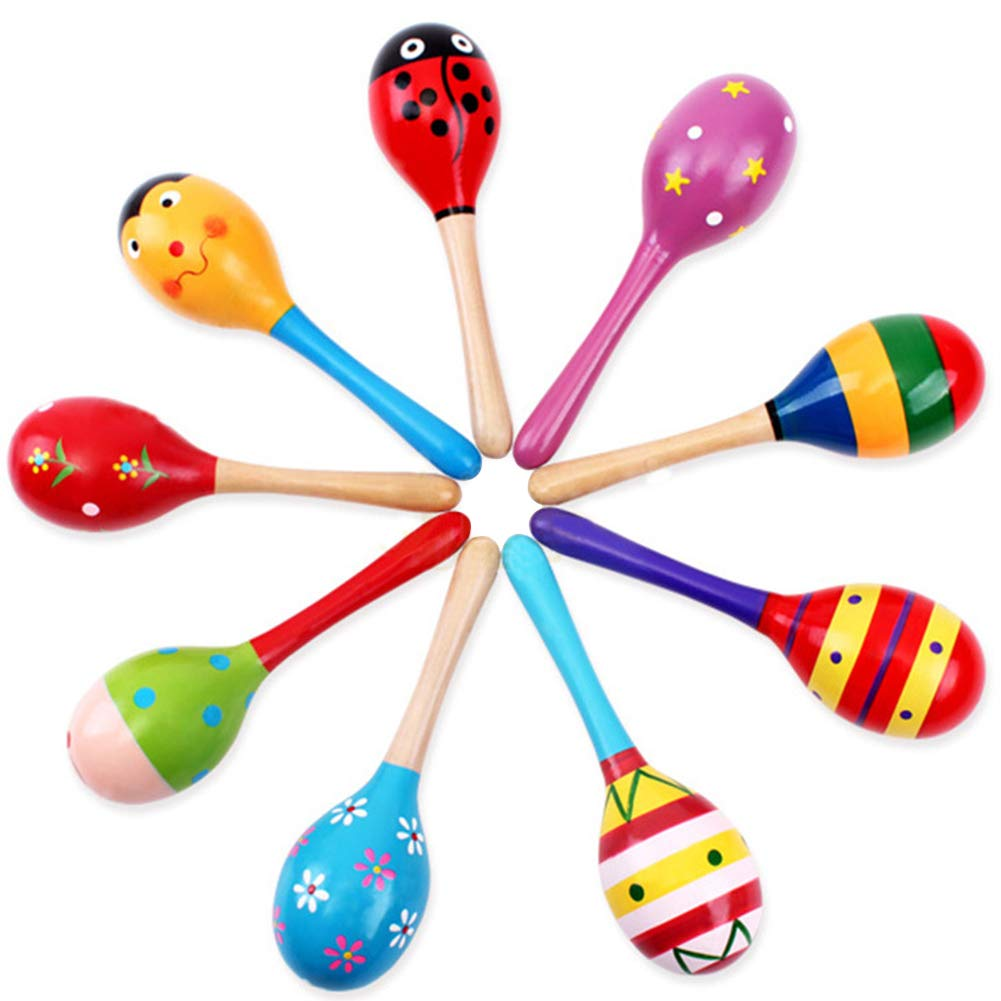 Wrist Bell Sand Hammers Set, 6 PCS Jingle Bells with 3 PCS Wood Maracas Rattle Shakers Musical Educational Toys for Kids