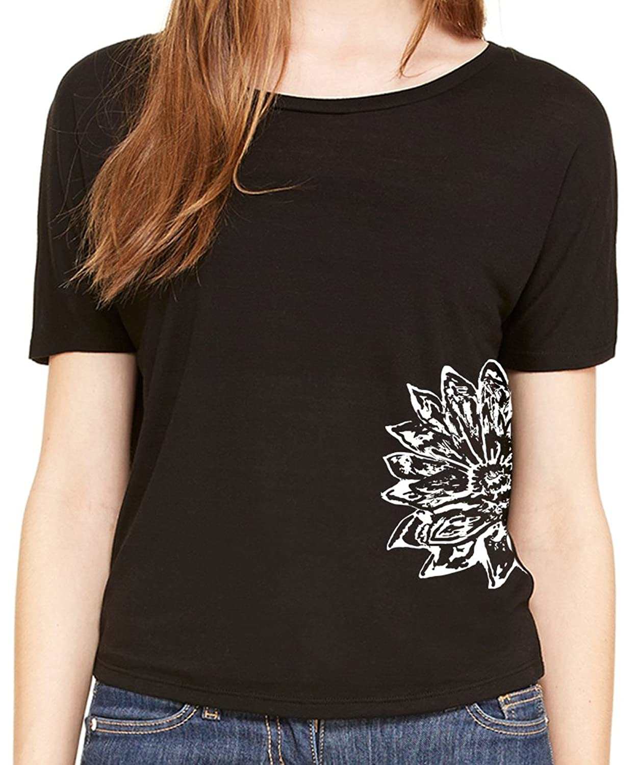 """Yoga Clothing For You Ladies """"Sketch Lotus"""" Open Back Shirt (side print)"""