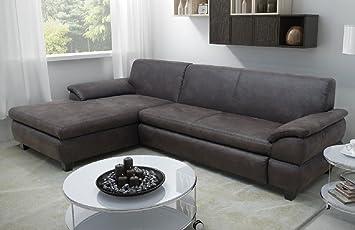 Genua Eckcouch Ecksofa Eckgarnitur Sofa Couch Braun Wildlederoptik