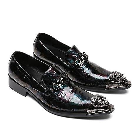 Zapatos de hombre Charol occidental Vaquero dedo pie metal Mocasines Puntiagudo Negocio Formal Floral Fiesta Club