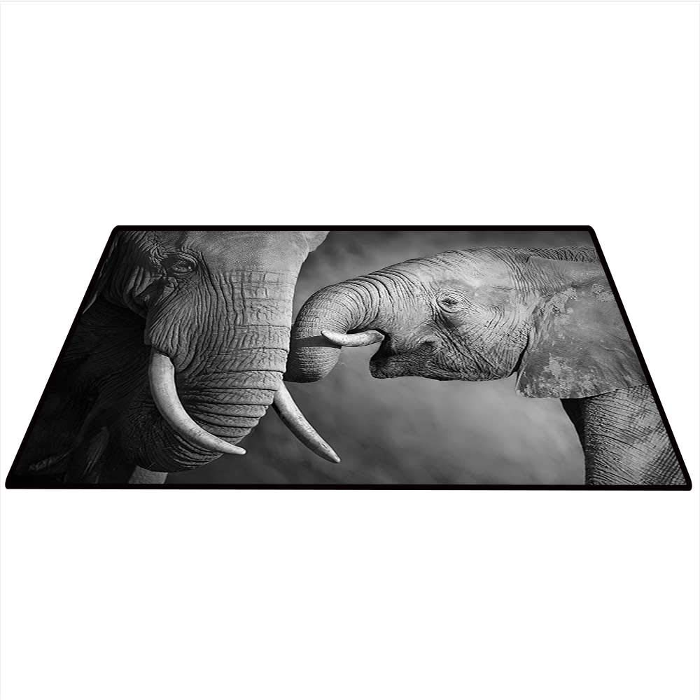 Wide Tap Dining Room Home Bedroom Carpet Elephants Showing Affection Artistic Wildlife African Spiritual Animals Safari Picture Artwork Home Decor Area Rug 4