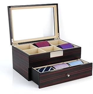 Tie Display Case For 12 Ties Ebony Walnut Two Level Storage Box With Drawer