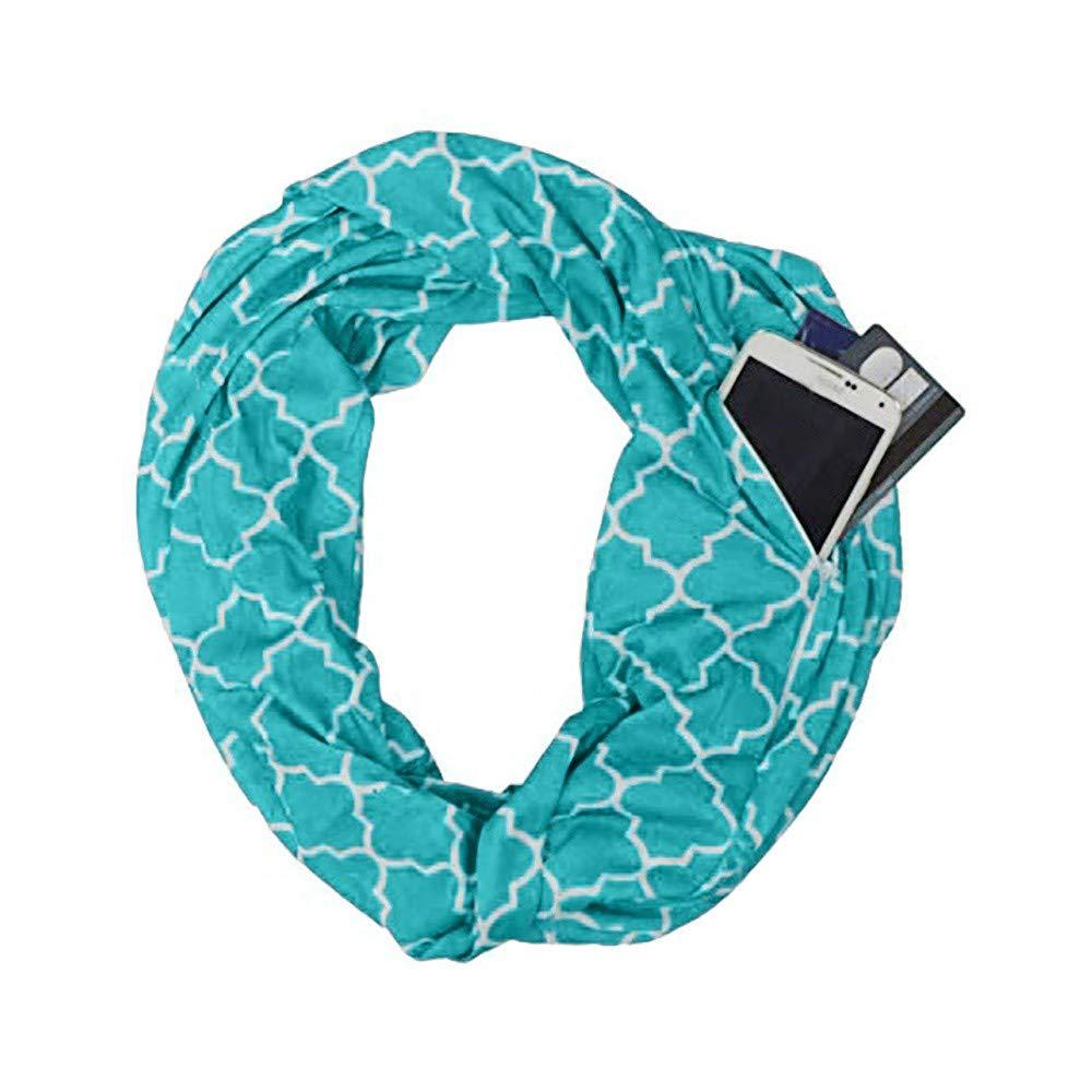 Women Winter Geometric Printed Warm Scarf, Infinity Neck Warmer Wrap Scarf With Hidden Zipper, Secret Pocket For Casual, Travel, Ladies, Girls (Black) Promisen