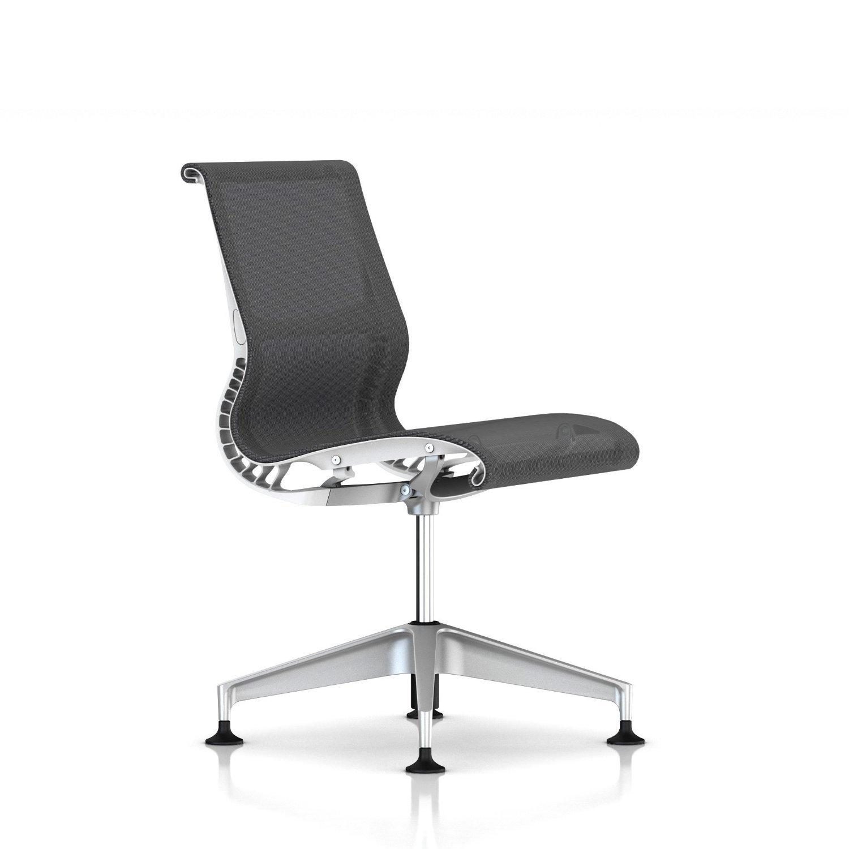 Herman Miller Setu Side Chair: Armless - Studio White Frame-Graphite Base-Alpine Lyris
