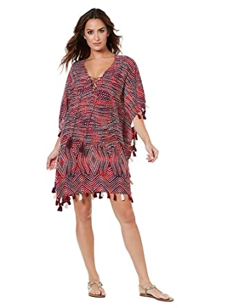 cc67623796 Miraclesuit Women's Swimwear Babylon Caftan Free Flowing Lace Up Tassel  Swimsuit Coverup at Amazon Women's Clothing store: