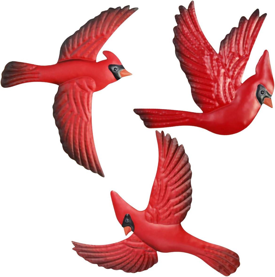 FANWNKI Red Metal Birds Set of 3 Wall Art Decor Sculptures Hanging for Christmas Outdoor Indoor Home Garden Porch Fence