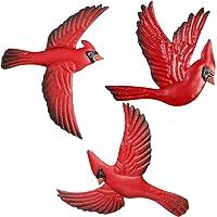 FANWNKI Red Metal Birds Set of 3 Wall Art Decor Sculptures Hanging for Outdoor Indoor Home Garden Porch Fence