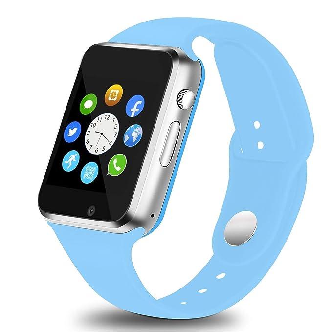 Smart Watch Fitness Tracker, Touch Screen Bluetooth Smart Wrist Smartwatch Support SIM SD Card Slot Make/Answer Phone Camera Pedometer Compatible ...