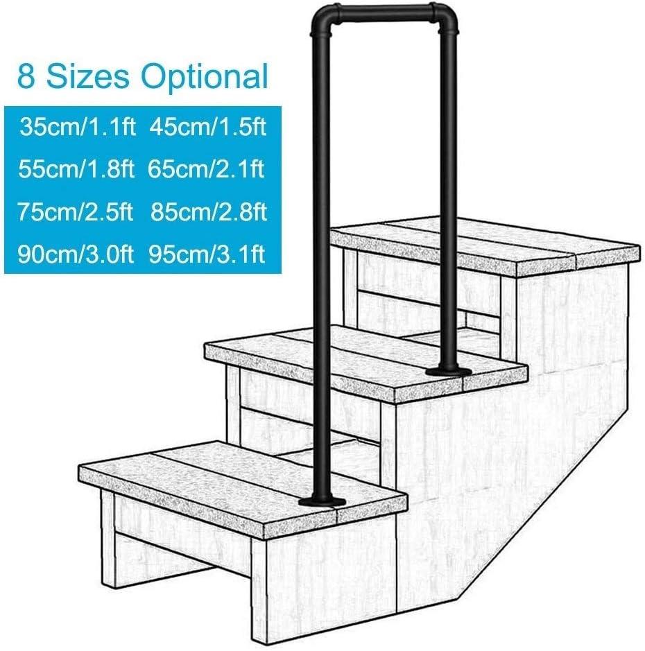 FS - Barandilla para escaleras en forma de U, color negro mate, para pasamanos de hierro forjado galvanizado, para interior y exterior, barandilla de escalera, 2 peldaños, 75cm/2.5ft