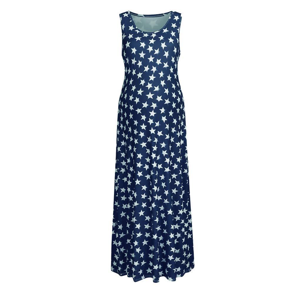 Huifa Women Maternity Sleeveless Pregnancy Sundress Star Print 4th of July Dress (Blue,XL)