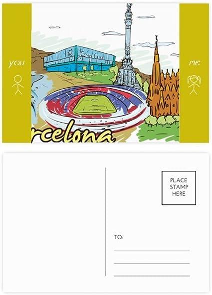 DIYthinker Barcelona, España Monumento acuarela amigo tarjetas postales establecido Gracias tarjeta de correo lateral 20Pcs 5,7 pulgadas x 3,8 pulgadas Multicolor: Amazon.es: Oficina y papelería