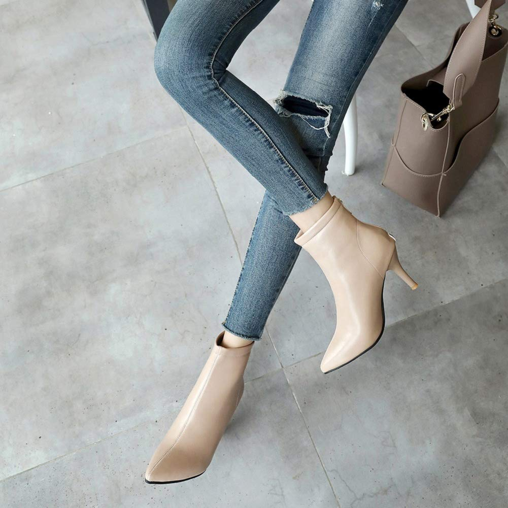 Women's Closed Pointed Toe Low Kitten Heel Ankle Bootie Prom Party Dress Bootie Beige by Lowprofile by Lowprofile Boots (Image #2)