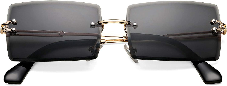 Rectangle Sunglasses for Men/Women Small Rimless Square Shade Eyewear