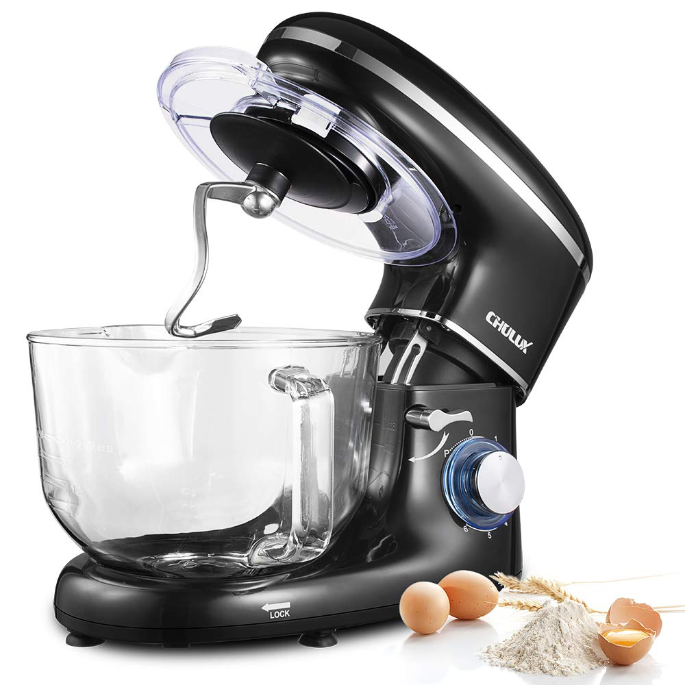 CHULUX Electric Stand Mixer, 660W Tilt-Head Kitchen Food Mixing Machine, 5.5 QT Spout Glass Bowl With Handle, Low Noisy, 6 Speed Control, Dough Hook, Egg Whisk, Beater, For Cake, Bread and Pizza by CHULUX