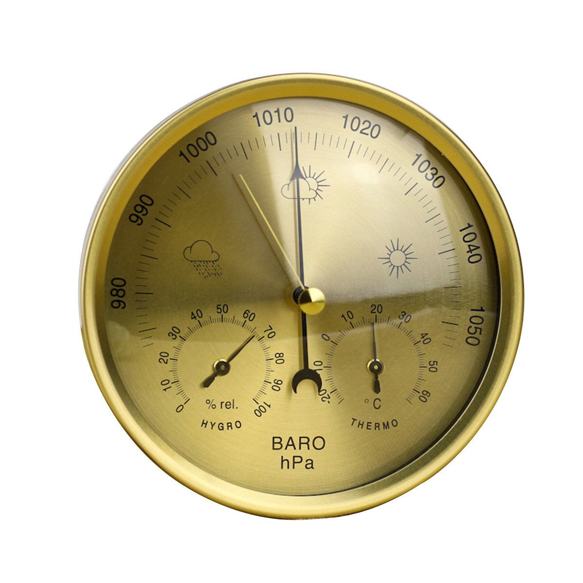 Yardwe 3 in 1 Barometer Weather Station Precision Aneroid Barometer Thermometer Hygrometer with Stainless Steel Frame (Yellow)