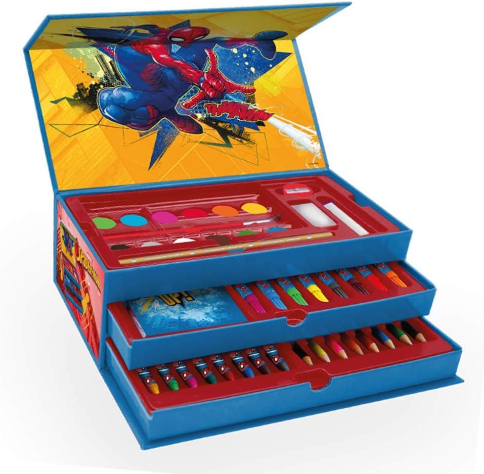 New Spiderman - Maletin Pinturas 3 Pisos de Spiderman, el Regalo para niño Ideal , Estuche de Pinturas Completo con Pinturas,rotuladores y Todo lo Necesario para la Etapa Escolar. Producto Oficial