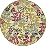 Unique Loom Eden Outdoor Collection Cream 8 ft Round Area Rug (8' x 8')