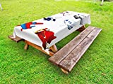 Lunarable Boy's Room Outdoor Tablecloth, Varied Airplanes in Cartoon Style Animation Inspired Colorful Vehicles Air Way, Decorative Washable Picnic Table Cloth, 58 X 84 Inches, Multicolor